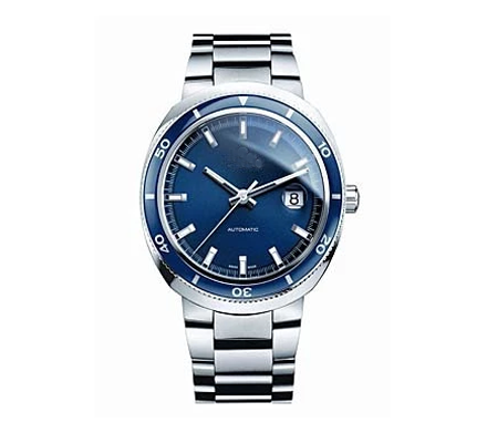Mens wrist chain watch stainless steel blue dial