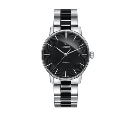 Mens wrist chain watch stainless steel black dial