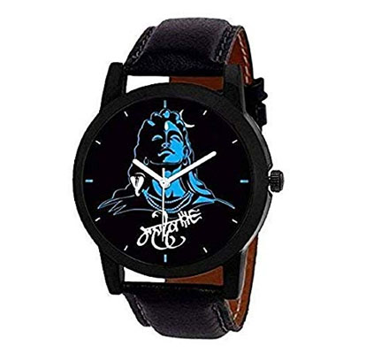 Mens wrist watch black color dial and black case